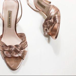 Zara Sling Back Heels Rose Gold 38